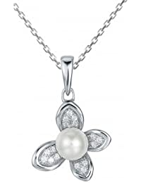 Four Petal Pearl Pendant With Chain In 925 Sterling Silver, Pendant For Women- By Ornate Jewels