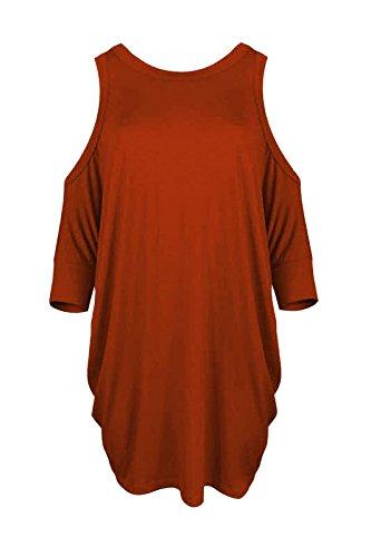 Janisramone Nouveau Femme Haut avec épaules nues manches courte Sexy Long Haut, épaules nues top haut évasée Rouille