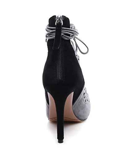 Peep Toe Pump Elegant Fine Tacchi alti in cima con bande a sandali in pelle scamosciata pelle di pecora in pelle per le donne Gray