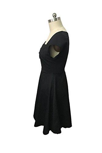 -Babyonline-Damen Sommer Herbst Kurzarm Business Baumwolle Rockabilly Stretch Cocktailkleid retro 50er Jahre Kleid Violett Schwarz Größe S-5XL Schwarz