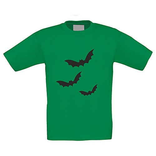 Kinder Halloween Shirt - Drei Fledermäuse - glow in the dark, kellygrün-schwarz, (Ideen Für Von Halloween Familie 6 Kostüme)