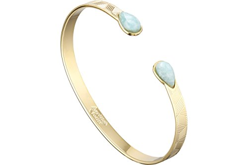 7a5d0442afa2a6 Aurélie Joliff Armreif Sienna, Vergoldet Feines Gold, Amazonit, M,  Durchmesser 55 mm