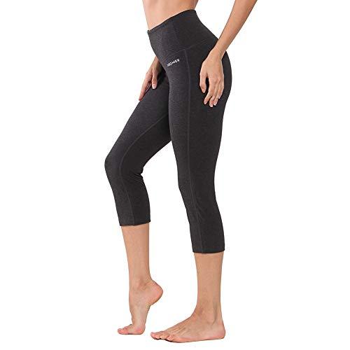 Laufhosen Baumwolle (Ogeenier - Sporthose Damen Sport Leggings 3/4 Yoga Capri Leggings Hohe Taille Yogahose Laufhose Fitnesshose Jogginghose Training Sport Tights mit Handytasche (Holzkohle))