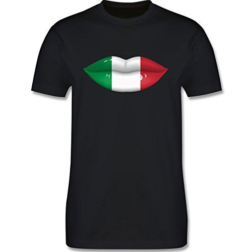 EM 2016 - Frankreich - Lippen Bodypaint Italien - Herren Premium T-Shirt Schwarz