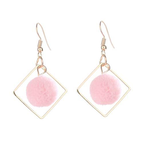 TENDYCOCO Geometrische Diamantohrringe Süße Fuzzy-Kugel Ohrstecker Runde Plüschkugel Ohrstecker für Mädchen (pink)
