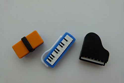 Iwako 3 Stück Schule 2 - Schule Box, Keyboard und Klavier japanischen Radiergummis aus Japan