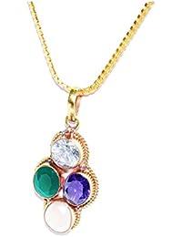Virgo Zodiac Rudra Divine Self Certified Multicolor 100% Original Semi Precious Gemstone Prosperity Pendant For...