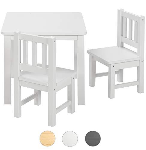 ♥ BOMI® Kindertisch mit 2 Stühlen Amy aus Kiefer Massiv Holz für Kleinkinder, Mädchen und Jungen Weiß