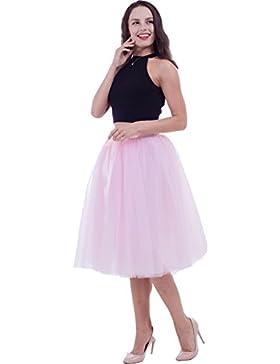 SCFL falda de tutú de las mujeres Midi Tulle faldas 7 capas de falda de falda de Underskirt con el cinturón elástico...