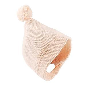 Gorro de bebé con forro polar y pompón supersuave para niños y niñas rosa rosa Talla:0-3 Meses 14