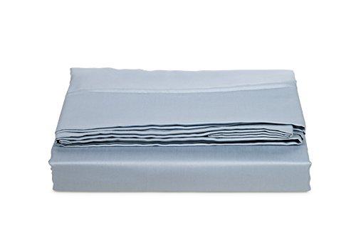 AmazonBasics Bettlaken, Baumwoll-Satin Fadenzahl 400, knitterarm, 240 x 320 + 10 cm - Blau (Smokey Blue)