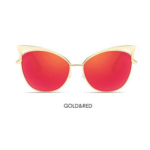 SUGLAUSES Sonnenbrillen Lady Cat Eye Sonnenbrille Frauen Metall Big Size Frame Spiegel Sonnenbrille Vintage Female Celebrity Shades