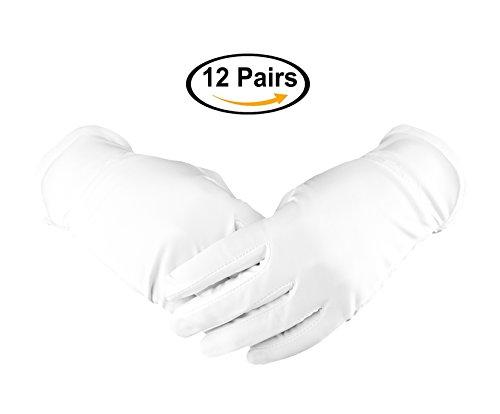 White Cotton Gloves nicwhite-Handschuhe, feuchtigkeitsspendend, Arbeitshandschuhe, 21,8cm, dick und robust, –-, silberfarben, Fliege, formal, Handschuhe-Motiven, 12Paar
