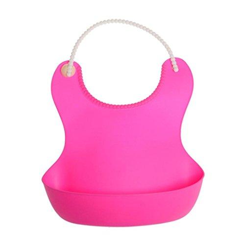 URSING Baby Lätzchen mit auffangschale Kinderlätzchen Wasserdicht Babylätzchen Wasserdicht Lätzchen Cute Soft Silikon Lätzchen Speichel Tropfende Lätzchen (Pink)