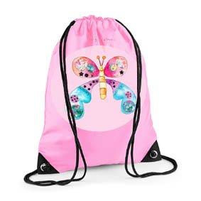 Girls Swim Bag, Pink Gym Bag, Butterfly