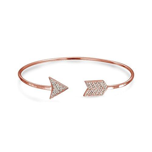 Minimalistische CZ Liebe Pfeil Tipps Armreif Armband Für Freundin Für Damen Für Jugendlich Rose Gold Sterling Silber