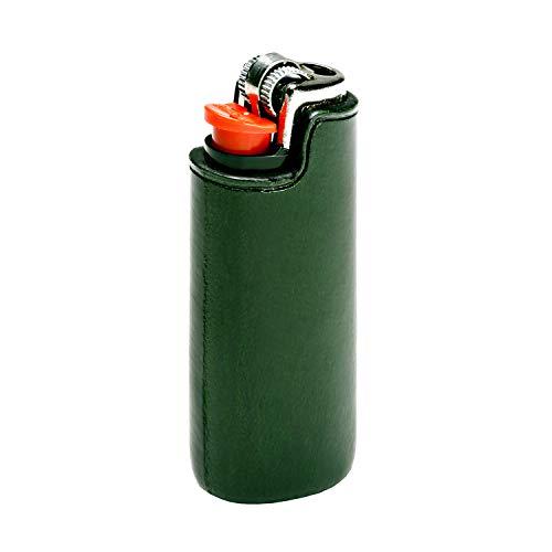 IL BUSSETTO Feuerzeug Ledertasche für Bic Mini Handgefertigt auf Holzform Handgemaltes Pflanzlich Gegerbtes Leder mit Unsichtbaren Nähten und Konstruktionslinien. (ForestGreen)