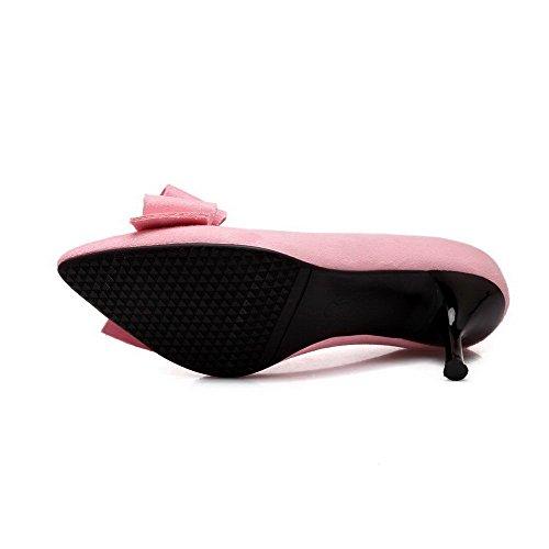 AllhqFashion Femme Dépolissement Tire Pointu à Talon Haut Chaussures Légeres Rose