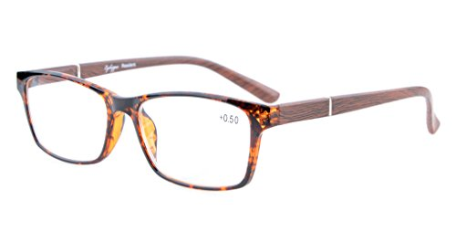 Eyekepper Federscharniere Holz-Look Arms Crystal Clear Vision Lesebrille Tortoise/Braun Arm+3.5