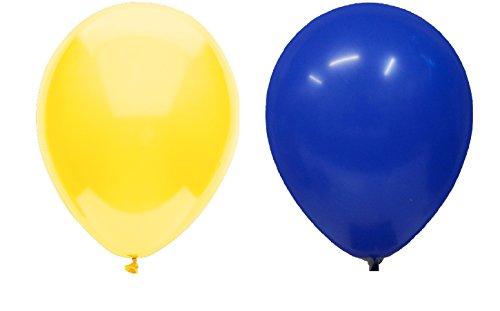 INERRA Globos – Pack DE 50 Unidades (25 x Azul Real y 25 x Amarillo) Látex 10' para Helio o Aire – Cumpleaños y Boda