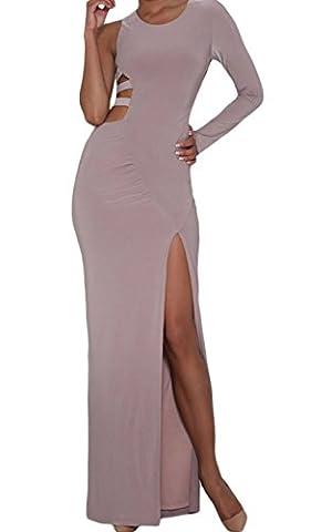 Bling-Bling Shimmer Slit Goddess Dress(Taupe,S)