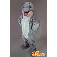 Mascota SpotSound Amazon Flipper el delfín personalizable. Dolphin traje gris
