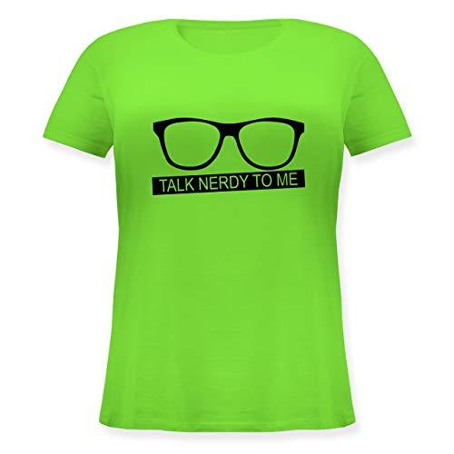 Nerds & Geeks - Talk Nerdy to me - schwarz - M (46) - Hellgrün - JHK601 - Lockeres Damen-Shirt in großen Größen mit Rundhalsausschnitt