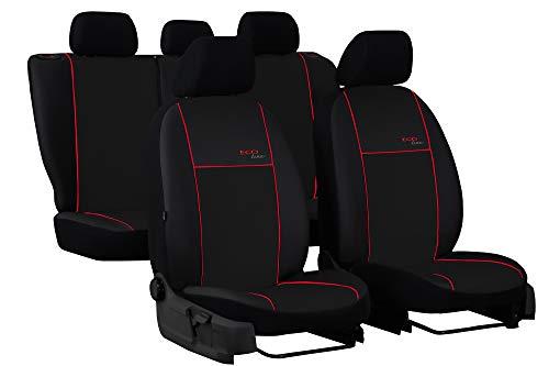 POK-TER-TUNING Autositzbezüge maßgefertigt für A3 8P Sportback 2003-2012 .Individuell gefertigt.Stoffart Kunstleder Schwarz in 7 Lamellen Farben.Design Eco line (Roter Lamelle)