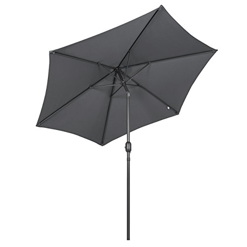 Sekey 2.7m Parasol inclinable pour Patio Jardin Balcon Piscine Plage Rond Sunscreen UV50+ Gris