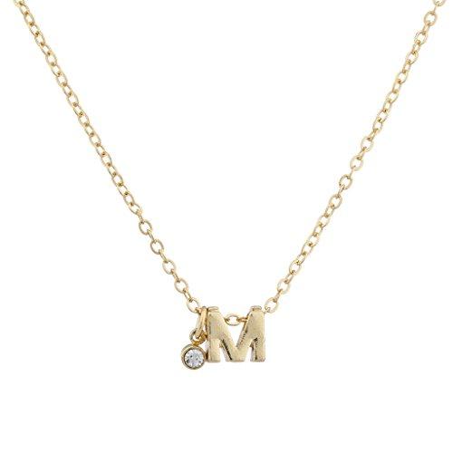 LUX Zubehör Gold Ton Personalisierte M Initiale Charm Anhänger Halskette (Personalisierte Gold-halskette)