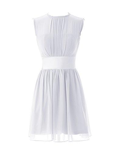 Dressystar Robe de demoiselle d'honneur/de soirée/de Cérémonie courte, Sans Manches, Plissée, au drapé, avec une ceinture, en Mousseline Blanc