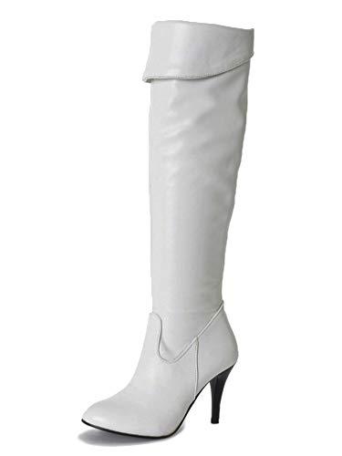 Minetom Damen Klassische Stiefel Stiletto über Knie Lange Stiefel Langschaft Stiefeletten mit Pfennigabsatz PU Leder Wildleder Overknees Boots Winterstiefel B Weiß 35 EU -