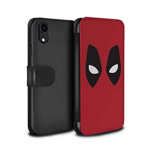 eSwish PU-Leder Hülle/Case/Tasche/Cover für Apple iPhone XR/Deadpool Maske Inspiriert Muster/Superheld Comic-Kunst Kollektion