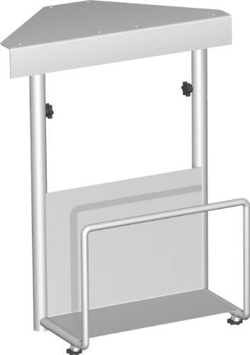 Gera Möbel S-500910-SI CPU-Halter Lissabon verstellbar, Breite 12,5-22,5 cm, Höhe 47-52 cm, Silber -
