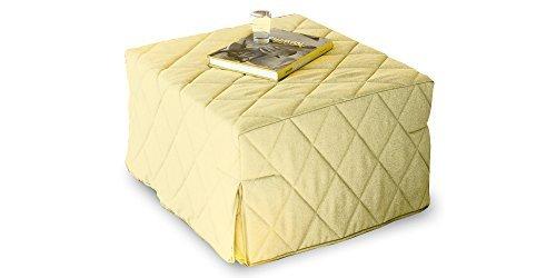 Pouff allegro trasformabile in letto singolo, rivestimento trapuntato ecru