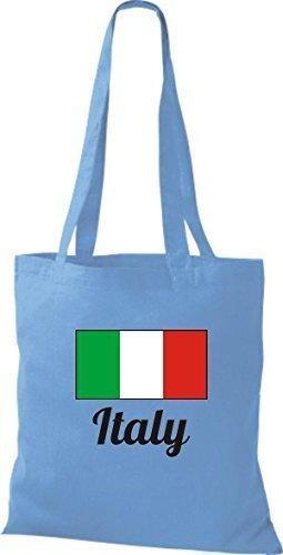 ShirtInStyle Sac en toile Sac en coton Jute de pays Italie Italie - Ciel, 38 cm x 42 cm bleu clair