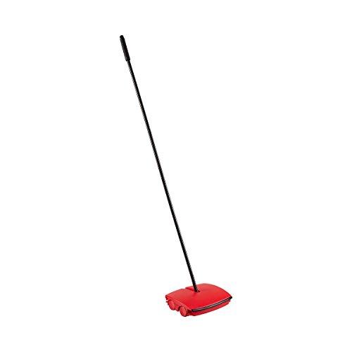 genialo Teppich-Kehrer | Reinigungsgerät für den Teppich | Staubsauger ohne Lärm, ohne Strom | aus Kunststoff und Stahl | schwarz, rot