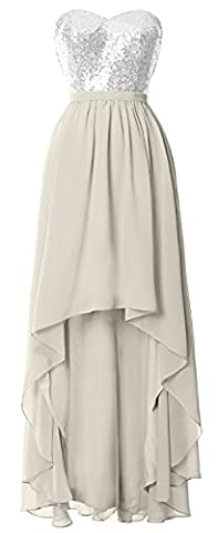 MACloth Gorgeous Hi Lo Bridesmaid Dress Sequin Chiffon Wedding Party Formal Gown (44, Silver)