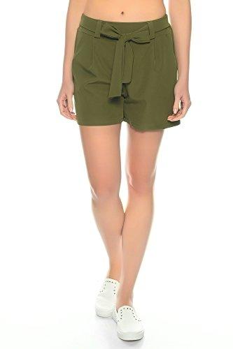 Dress Sheek Damen Elegante Kurze Hose   Crepe Sommer Shorts (Oliv, S)