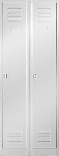 Kleiderspind Stahlspind Garderobenschrank Spind Pulverbeschichtung Flügeltüren, Lüftungsschlitzen, 2 Abteile Trennwand 180 cm x 60 cm x 50 cm(H x B x T) (grau/grau)