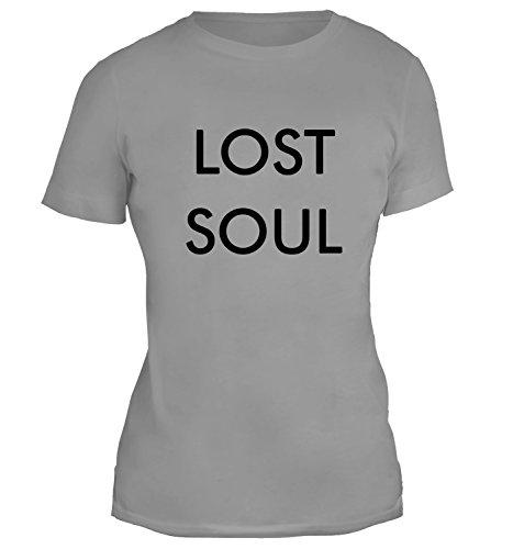 Mesdames T-Shirt avec Minimalistic Lost Soul Desing imprimé. Gris
