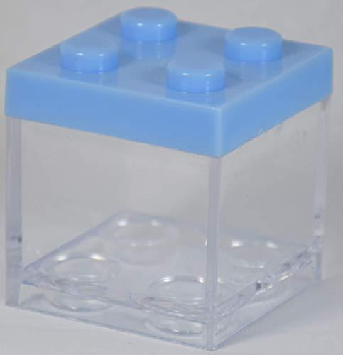 12 pz scatola plexiglass portaconfetti lego celeste bomboniera nascita bambino