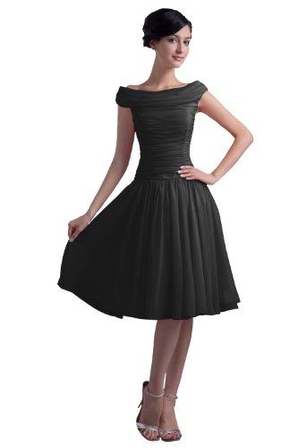 Dresstells Kurze Ballkleider Chiffon Cocktailkleider offizielle Abendkleider für Jugend Schwarz Größe 38