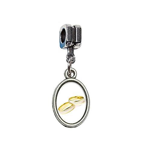 Anneaux de mariage–Love Romance italien européenne Euro Style Perle Charm Bracelet–Compatible avec Pandora, Biagi, Troll, chamilla 18cm,