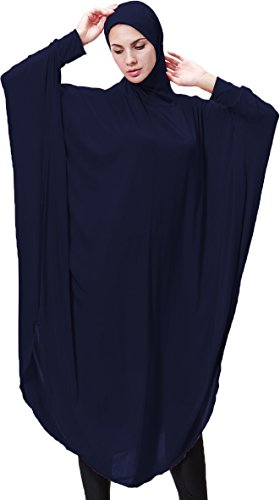Ababalaya Damen Muslim Abaya Kleid Islamische Kleidung Dubai Kaftan Kaftan Jilbabs Abayas mit Hijab,Marine Blau,M