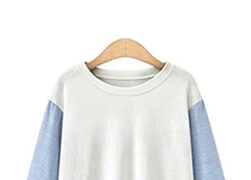 Autunno Di Grandi Dimensioni A Strisce Casuale Lungo Tratto Colpo Shirt T-shirt Di Colore Copertura Delle Donne Black