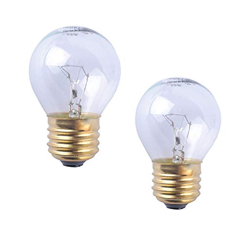 120v Glühbirne Lampe (Poweka Glühbirne für E27 / E26 40W 110V-120V Ofen Kühlschrank Klarglas Tropfenform, Dimmbar, Messing Basis-Appliance Glühbirne 40 Watt(2pc))