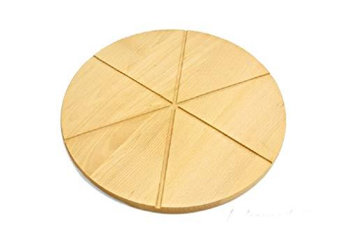 Wooden world tagliere rotondo circolare per pizza in legno massello, 40 cm, 6 file