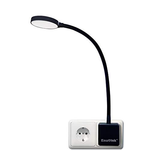 Lampara de Noche Luz Nocturna de Pared LED Regulable Flexible con Enchufe y Interruptor Tactil 4W 350Lm Iluminación Blanca Natural 5000K Sin Función de Control Remoto Lot de 1 de Enuotek