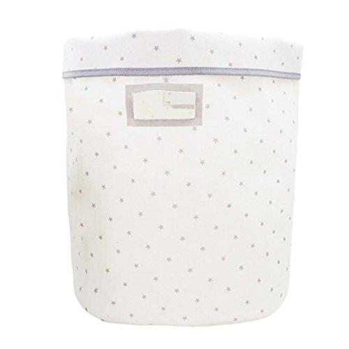 hunpta Wäschekorb, Leinwand Blatt Wäsche Wäschekorb Aufbewahrungskorb Faltbar Aufbewahrungsbox weiß - Leinwand Wäsche